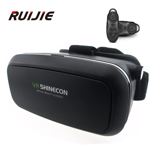 VR Shinecon Virtual Reality 3D Glasses Cardboard Headmount Mobile 3D Movie Games for 4.7-6 Inch Smartphones+Bluetooth Controller