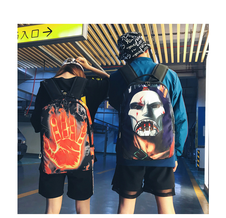 Trendy Hip Hop Backpack Unisex Fashion Casual Nylon Fabric 8 Style Personality Creative Mobile Shoulder Bag School Student Bags in Backpacks from Luggage Bags