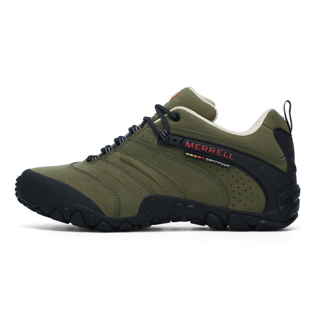 4313114e1d2d Merrell Professional Army Green Outdoor Men Sport Leather Hiking Shoes