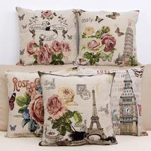 Vintage decorativo hogar algodón almohada suave sofá cojines Sala cama silla asiento cojín para cintura Rose flores fundas de almohada