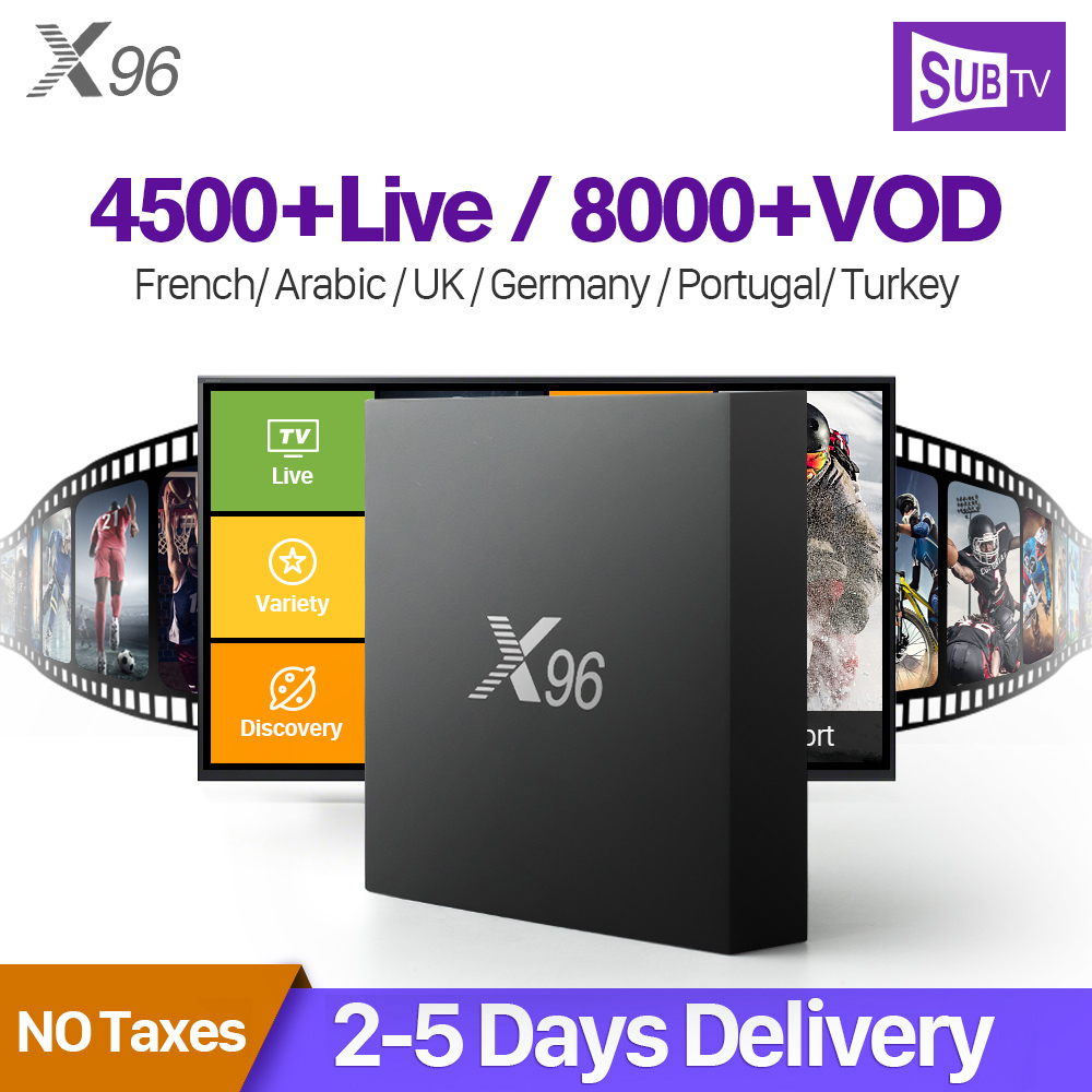 X96 Francia Arabo IPTV Ricevitore Android Amlogic S905X Octa Core Wifi TV Box Con SUBTV Abbonamento IPTV 1 Anno IPTV francese