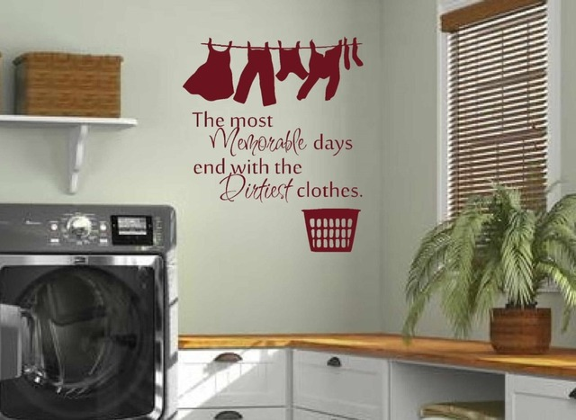 Wonderful Washroom Laundry Room Wall Decals Home Balcony Wall Vinyl Stickers Dry  Cleaners Wall Art Posters Removable