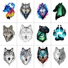 WYUEN 12 PCS/lot Wolf Temporary Tattoo Sticker for Women Men Fashion Body Art Adults Waterproof Hand Fake Tatoo 9.8X6cm W12-01