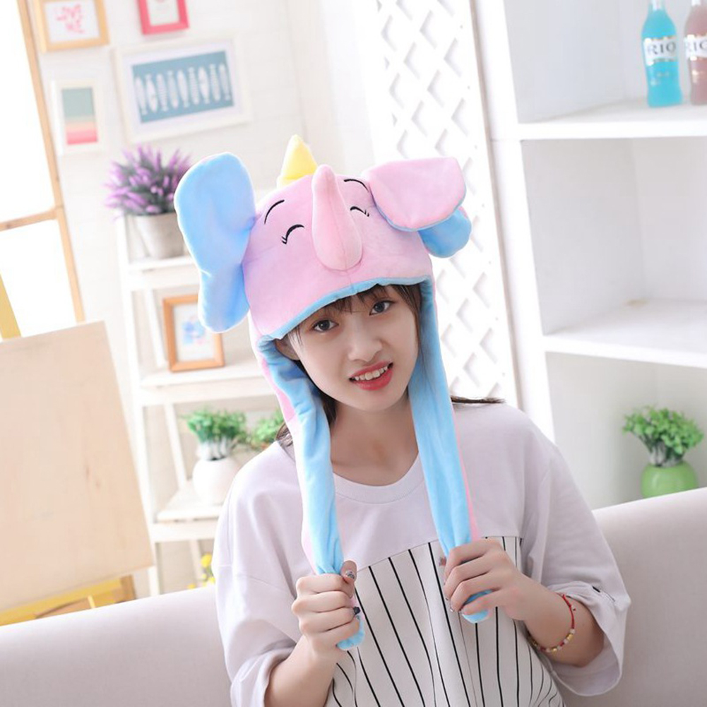 Cute Elephant Hat Moving Ears Cute Cartoon Toy Hat Airbag Kawaii Funny Toy Cap Kids Plush Toy Birthday Gift Hat For Girls