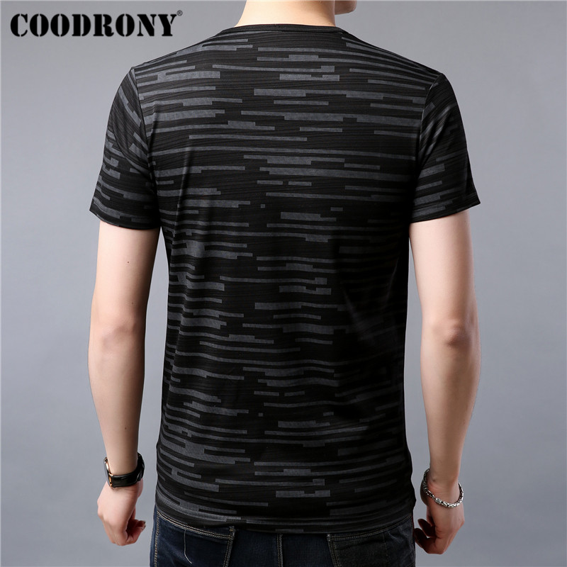 COODRONY Casual T Shirt Men Fashion Striped Short Sleeve T-Shirt Men Summer Cotton Tee Shirt Homme Men's O-Neck T-Shirts S95044
