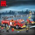 Modelo enlighten 908 bombero policía camión de bomberos de la ciudad bloques de construcción 3d diy juguetes educativos para niños