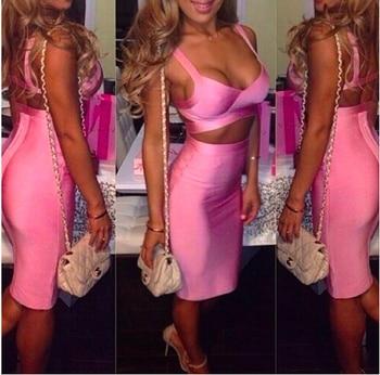 High quality sexy tight dresses redwhiteblackyellow woman elastic bodycon two pieces pink bandage dress 2 piece photo shoot