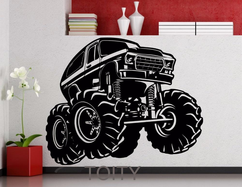 Monster Truck Wall Stickers Part - 20: Online Shop Wrangler Monster Truck Vehicle Car Garage Wall Sticker Vinyl  Decal Home Room Interior Art Decor Black Fashion Mural   Aliexpress Mobile