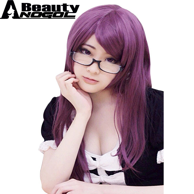 ANOGOL BEAUTY Hair Cap+Long Natural Wave Side Part Tokyo Ghoul Guru Rize Kamishiro Purple Synthetic Cosplay Wig For Halloween