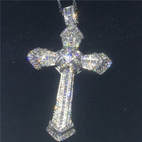Luxury Big Cross pendant With necklace 925 Sterling silver AAAAA zircon Cz Party wedding Pendants for women men Jewelry