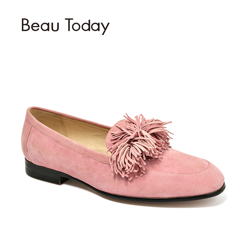 BeauToday Women Flats Fringe Pigskin Leather Soft Loafters Shoes Square Toe Top Quality Slip-On Style Handmade 27094 fringe sleeve top