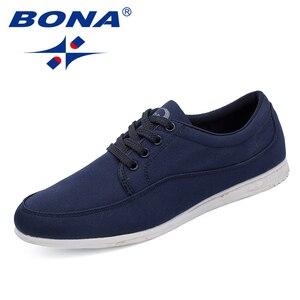 Image 4 - BONA yeni klasik tarzı erkekler rahat ayakkabılar tuval erkek günlük ayakkabı Lace Up erkekler moda Sneakers ayakkabı rahat ücretsiz kargo