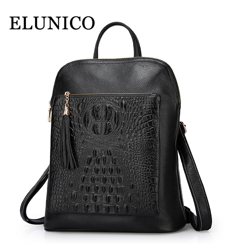 ELUNICO Brand Women Crocodile Genuine Leather Backpack Schoolbag for Girls Teenagers Shoulder Bag Female Large Capacity Backpack