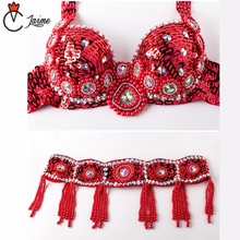 Women Stage & Dance Wear Oriental Sequined Beaded Belly dance Suit 2pcs  Bra and Belt Costumes for