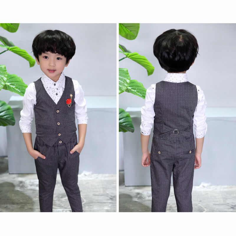 7589d51b252a1 Boys Formal Tuxedos Suit Children Gentleman Clothing Vest+Pants 2 PCS Set  Boys Wedding Prom Party Costume 2 3 4 5 6 7 8 9 Years