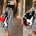 Summer Cartoon Printed Women Dress Clothing Middle Sleeve Cute Striped Mid-Calf Lady Vestidos Fashion Beach Casual Clothes