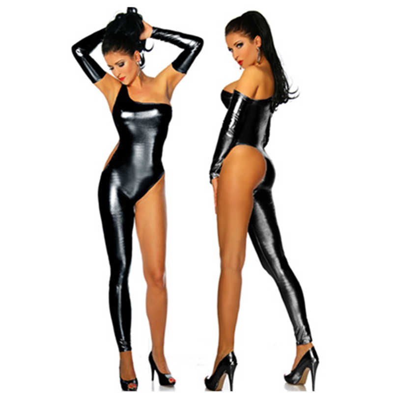 Hot Adult Women Sexy Shiny Leather Latex Jumpsuit one shoulder Halloween Costume DJ Dance Catsuit Exotic Clubwear PVC Bodysuit