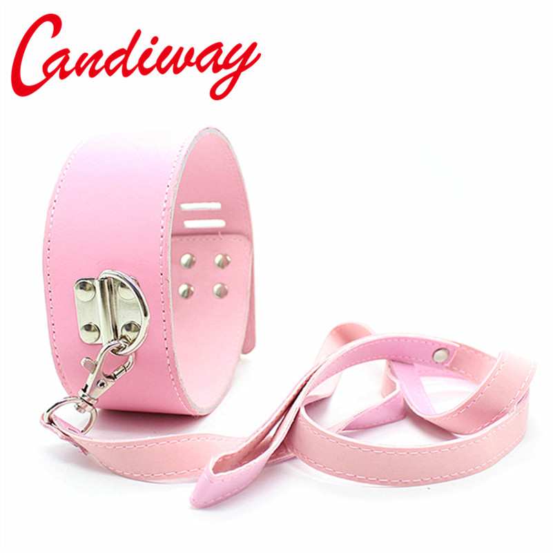 Candiway BDSM Sexy Pink Lock Sex Collar,Leash Chain PU Leather Bondage Toys For Sex Love Games Cosplay Erotic Posture Collar