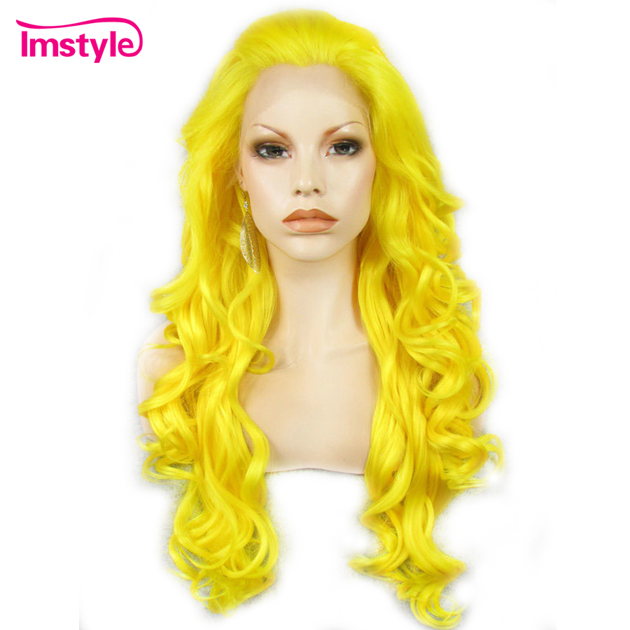 Imstyle Yellow Synthetic Lace Front Wig Long Wavy Wigs For Women Heat Resistant Fiber Glueless Natural Hairline Cosplay Wig 26''