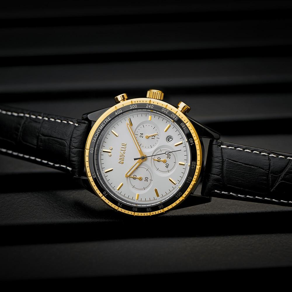 BAOGELA Luxury Analog Quartz Multifunction Chronograph Watches Waterproof Date Wristwatch все цены