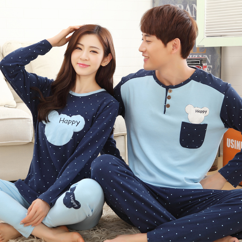 Pajamas Letter Striped Cotton Cartoon Plus-Size Winteter Men's Casual 3XL Autumn Long-Sleeved title=