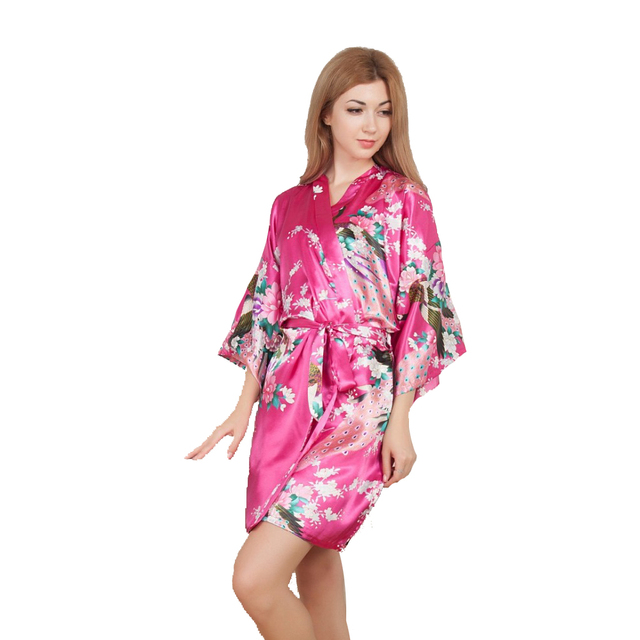 New Wedding Bride Bridesmaid Robe Floral Bathrobe Short Kimono Night Robe Bath Robe Dressing Gown For Women One Size D125 07-in Robes from Women\'s ...