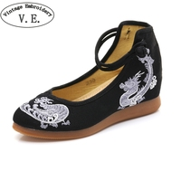 Vintage Embroidery Spring Autumn Women S High Heel Shoes Chinese National Dragon Embroidered Women Pumps Chaussure