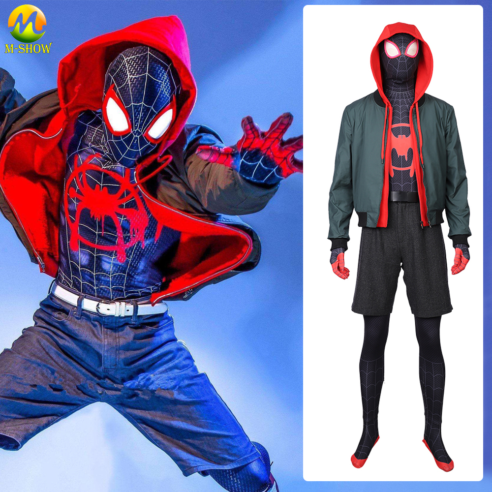 Spider-Man: Into the Spider-Verse Miles Morales Cosplay Costume Zentai Spiderman Pattern Full Set Outfit For Adult Custom Made