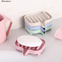1 Pcs New Wheat straw drain soap box Soap Dishes Storage Holder Soapbox Plate Tray Drain Creative Bathroom Bath Tools