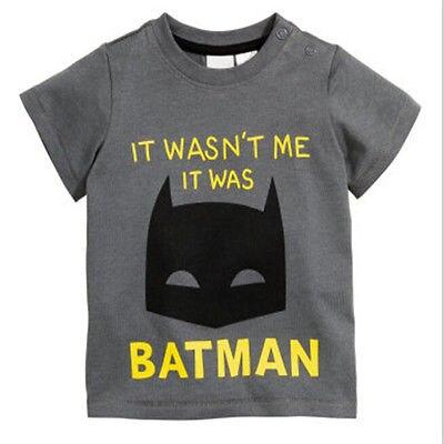 1-3 Jahre Jungen Sommer Cartoon Batman Druck Grau Kurzarm Rundhals Casual T-shirt T Kleidung GroßEs Sortiment