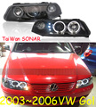 Gol headlight,2003~2006 (Fit for LHD,RHD need add 200USD),Free ship!Gol fog light,2ps/se+2pcs Aozoom Ballast,Gol,Golf