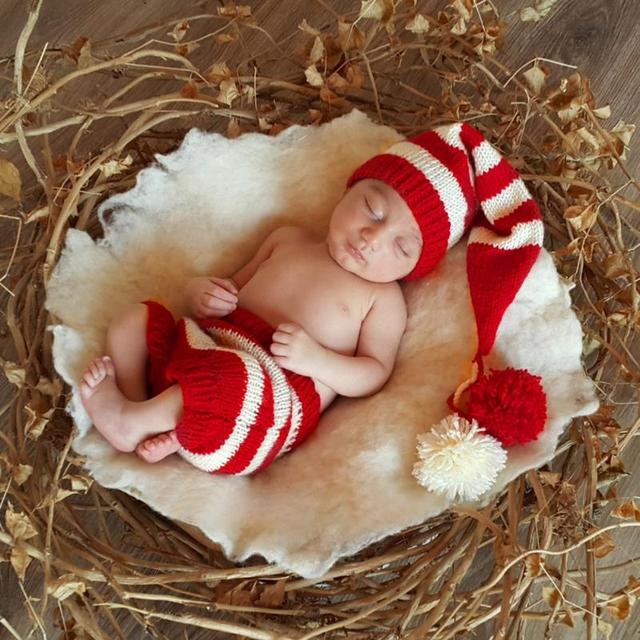 baby newborn christmas photography props crochet knit baby caps hat costume outfits baby knitting long tails