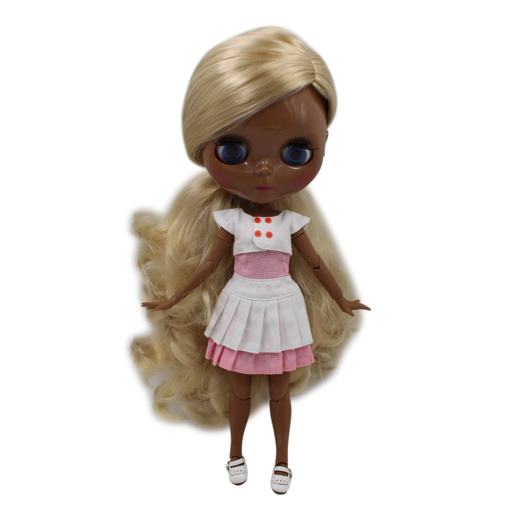 fortune days factory blyth doll super black skin tone darkest ultra skin golden side parting hair joint body 1/6 30cm 280BL3715