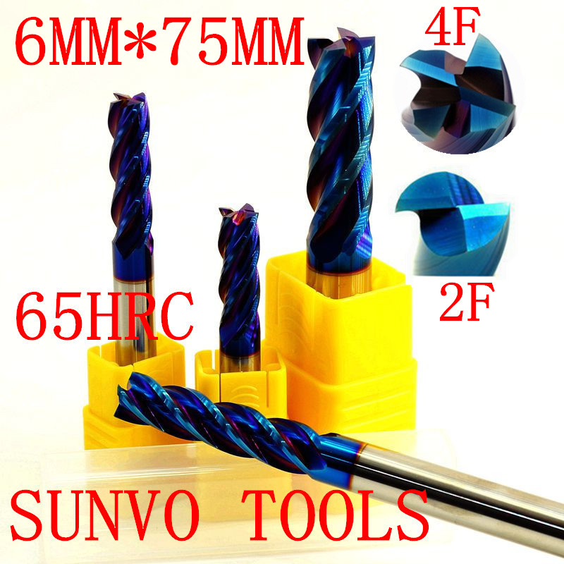 3PCS 2F 4F D6x75MM HRC45 HRC50 HRC55 HRC60 HRC65 6MM CNC Carbide Tool End Mill R3 ball end End Mill  Aluminum milling cutter