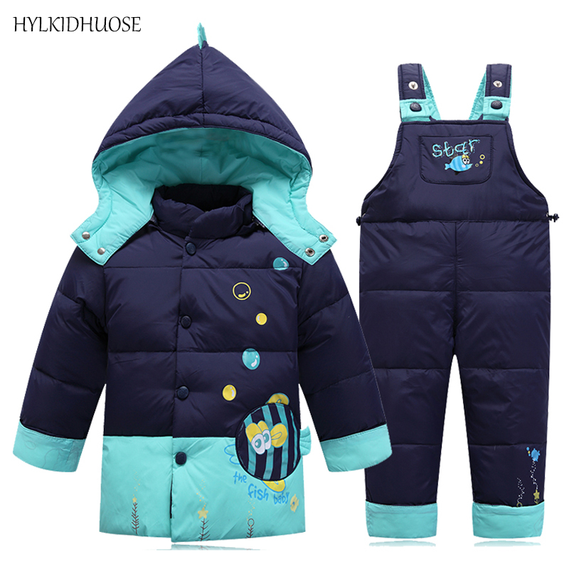HYLKIDHUOSE Baby Girls Boys Down SnowSuits Infant Winter Clothes Sets Outdoor Children Kids Warm Thick Suits Coats+Pants baby girls boys winter clothes sets children infant suits kids thick plaid warm coats pants two piece suit children kids suits