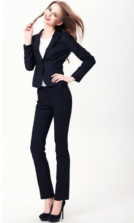 032615d85fec Pant Abiti Da Sera delle donne Nuovo Plus Size Autunno Inverno Business  Professional Work Wear Ufficio Donne Eleganti Tailleur Blu Marino Vestito  di ...