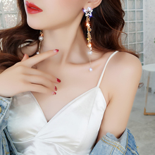 DREJEW Asymmetry Gold Star Pearl Statement Earrings 2019 925 Long Tassel 925 Drop Earrings Sets for Women Fashion Jewelry HE527 yancey original design baroque pearl long tassel star luxurious big drop earrings 9k gold inlay the style of the goddess