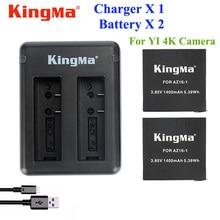 Оригинал Xiaomi Yi 4 К KingMa Зарядное 2 ШТ. 1400 МАч Батарея + Dual USB Зарядное Устройство Для Спорта Yi 4 К действий Камеры Аксессуары Аккумулятор