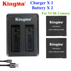 Original KingMa Xiaomi Yi 4K Battery 2PCS 1400Mah Battery+Dual USB Charger For Sport Yi 4K Action Camera Battery Accessories