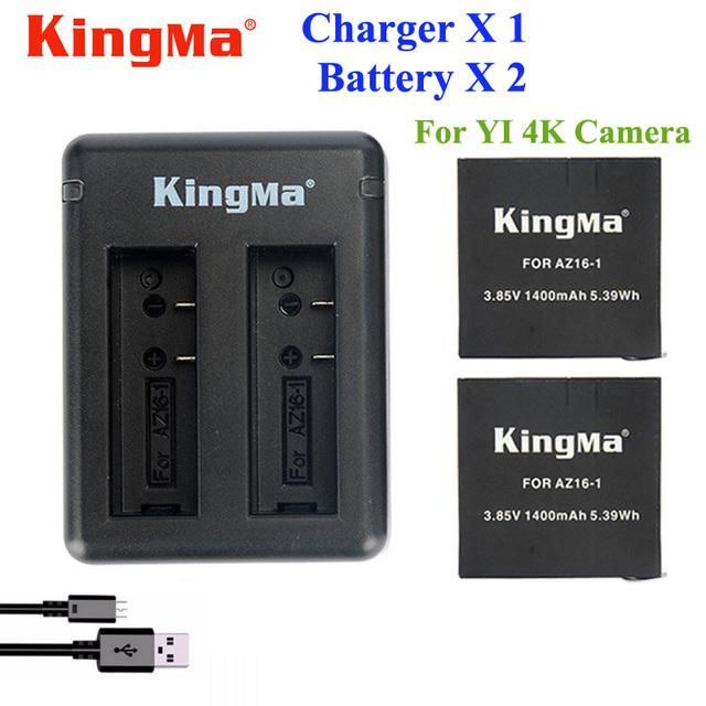 Original xiaomi yi 4 k batería kingma 2 unids 1400 mah batería + cargador doble usb para el deporte yi 4 k batería de la cámara de acción accesorios