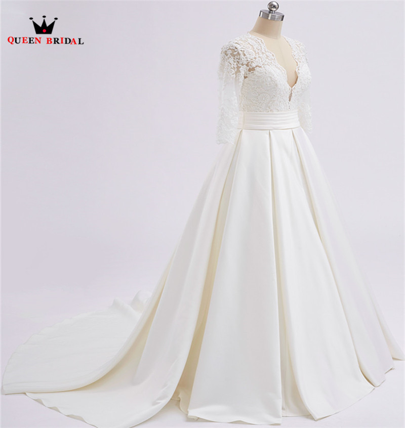 A-line v-cuello 3 4 manga Encaje satén largo elegante formal Vestidos de novia 2018 real foto vestido de boda por encargo XH71