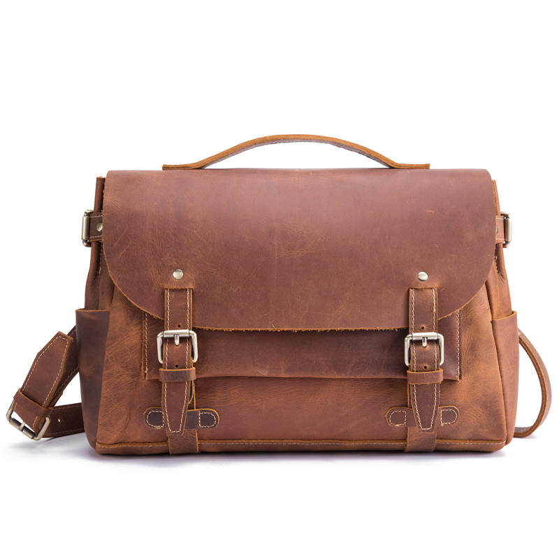 Man Briefcases Crossbody Shoulder Bag Genuine Leather Fashion Business Ipad Laptop Male 15 Inch Messenger Bag Cover Gift Travel