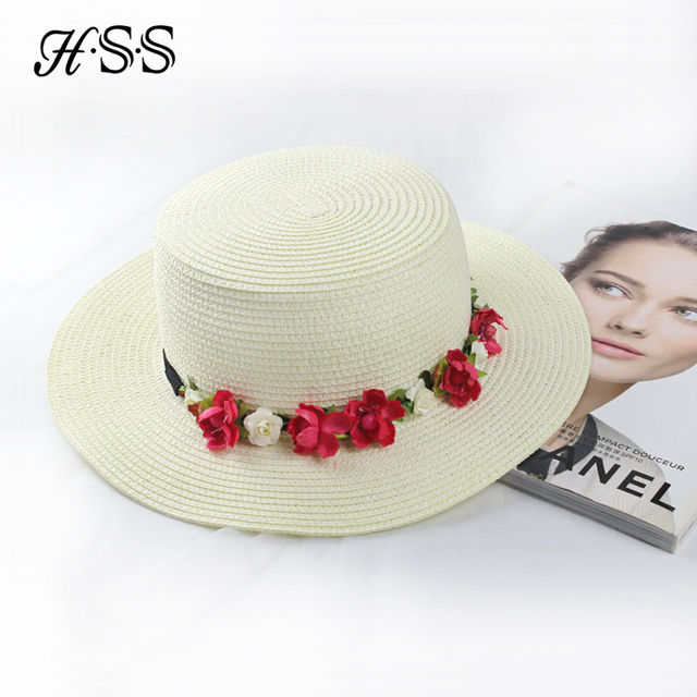 6f793f6434721 HSS original nova flor moda acessórios de viagem chapéu de palha plana  chapéu de palha Das
