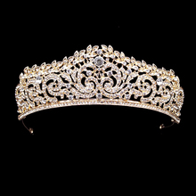 Gold Classic Crystal Wedding Tiara And Crown Headband Bridal Pageant Hair Accessories Bride Hair Jewelry Women Diadem