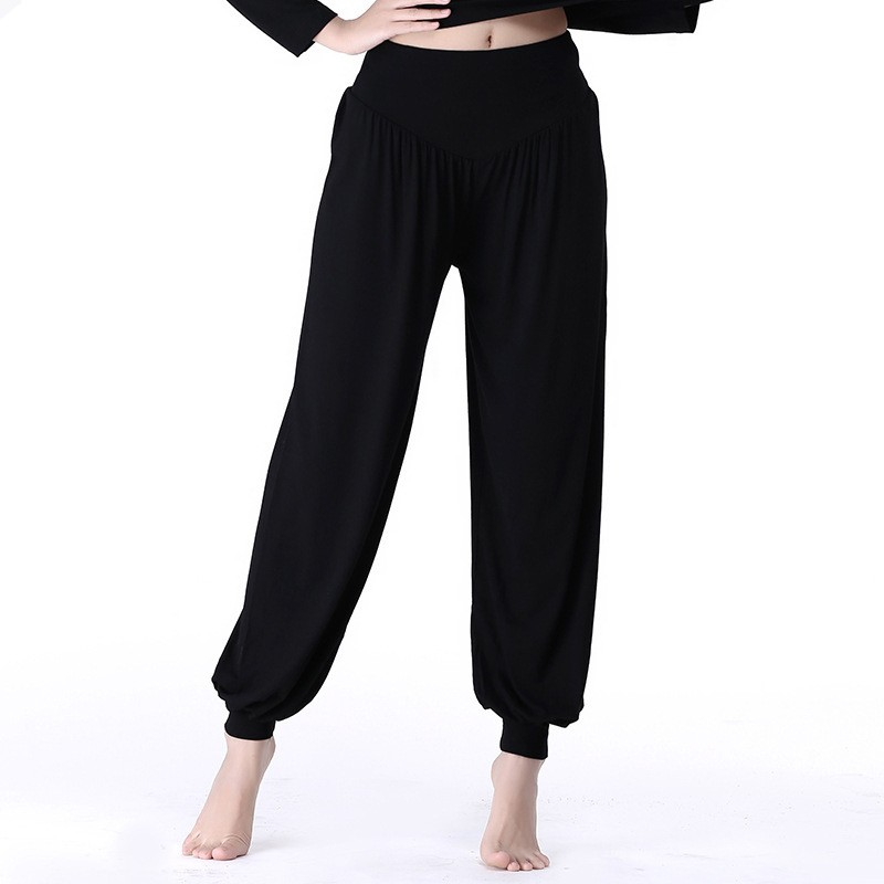 Plus Size Pure Color Loose Trousers For Women modal Yoga Martial Arts Tai Chi Wu Shu Sports Pants For Women Pantalones Mujer