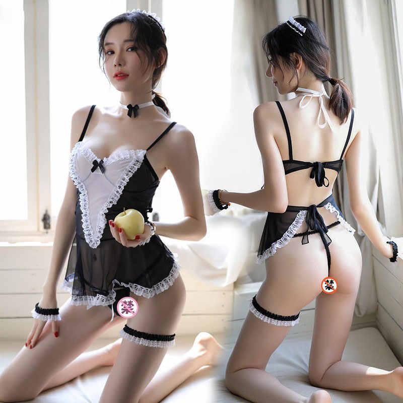 юбка Сексуальная черная форма горничной комплект Эротическое японское белье короткая Прозрачная Сексуальная горничная униформа Искушение леди сексуальная одежда
