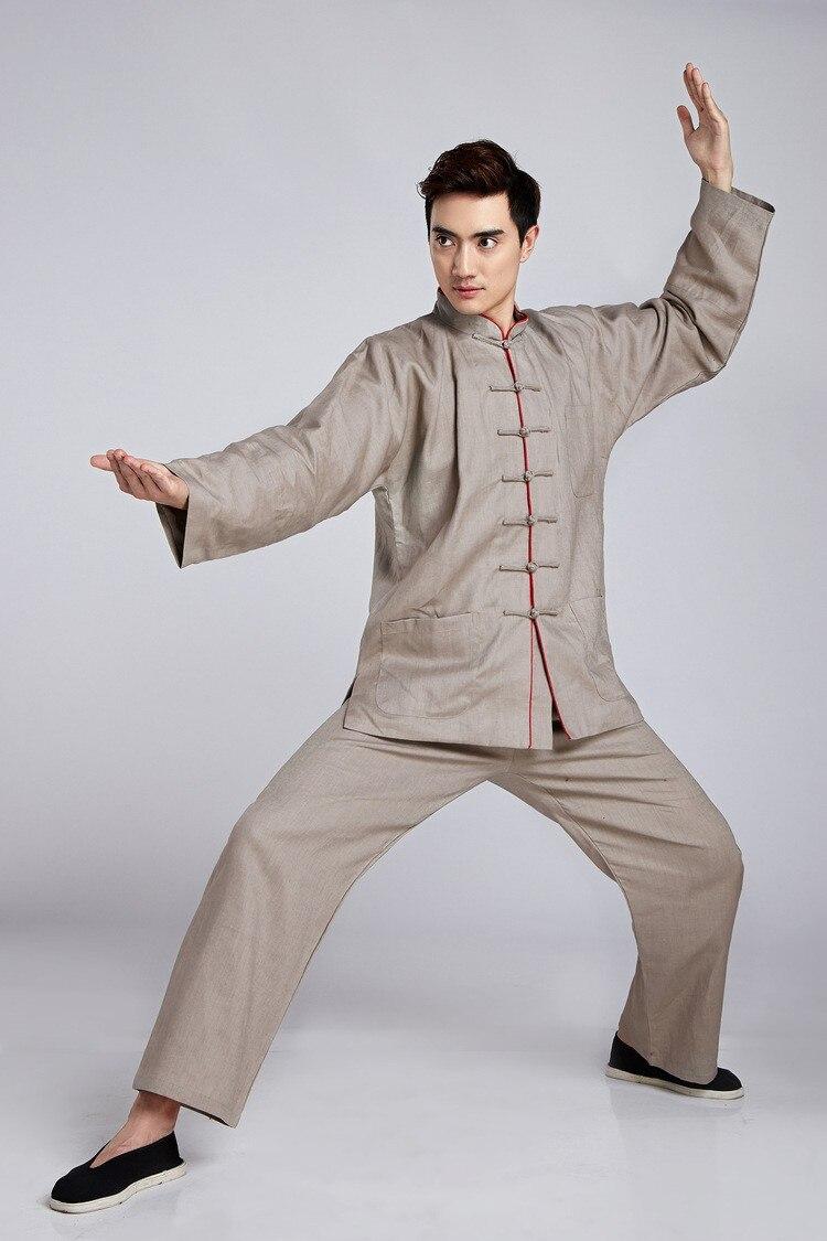 Nueva llegada de los hombres chinos beige clásico tai chi uniforme ...