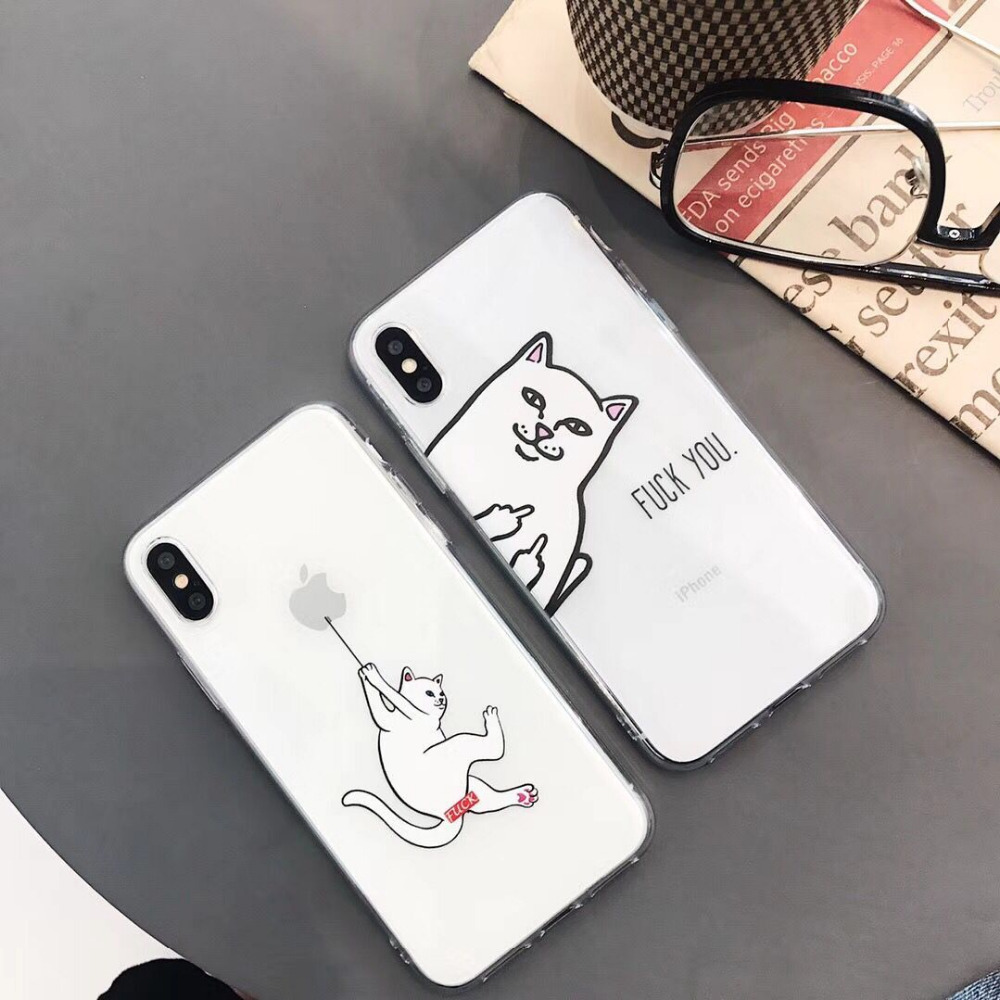 3D Cartoon Middle Finger Cat Phone Iphone 7 Plus Iphone X 6 6S 7 8 Funny Lovers Soft TPU Animal Phone Bag