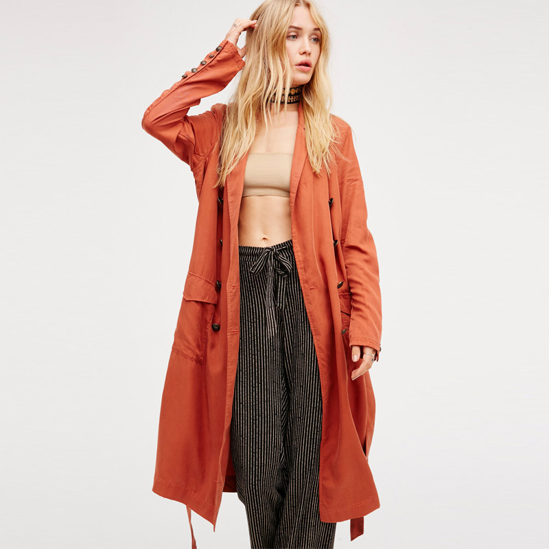 Boho People Winter Autumn Long Jackets Coats Long Sleeve Pockets Sashes Lace Up Jacket Mujer Solid Steetwear Outerwear Coat