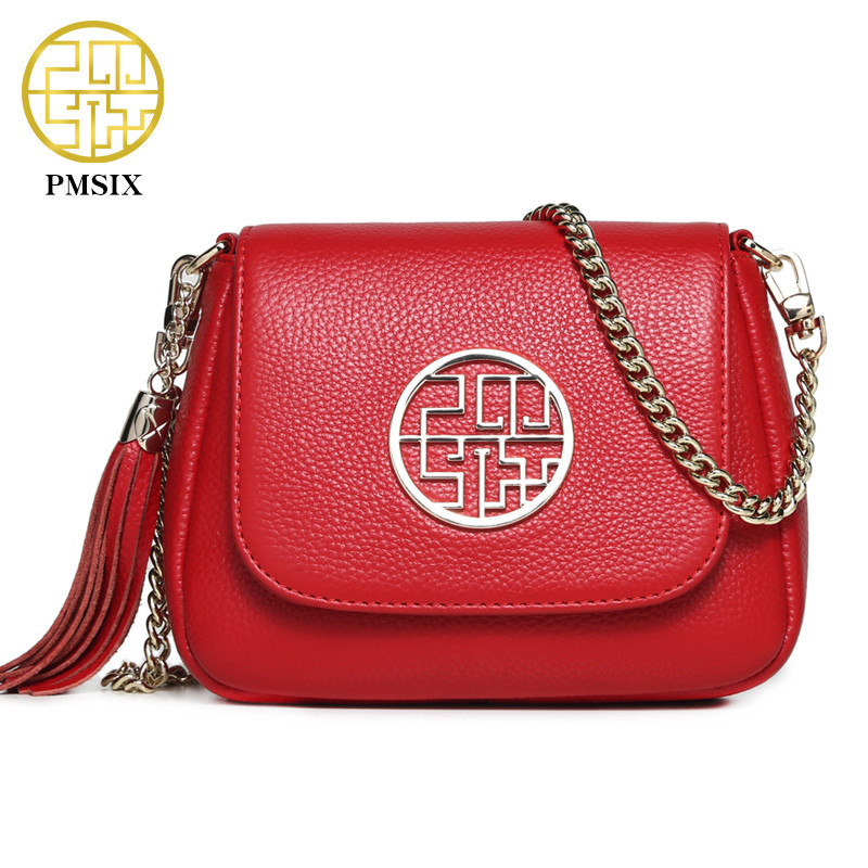 Pmsix 2018 Summer Women Mini Genuine Leather Bag Chinese Style Chain Shoulder Bag Cute Fashion Red Women Messenger Bags 210009 pmsix 2017 new women cattle split leather handbags chinese style shoulder bag red black embroidery fashion tote bag p120024